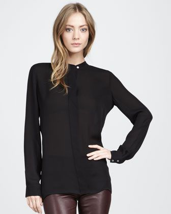 Silk Blouse, Black by Vince at Bergdorf Goodman.