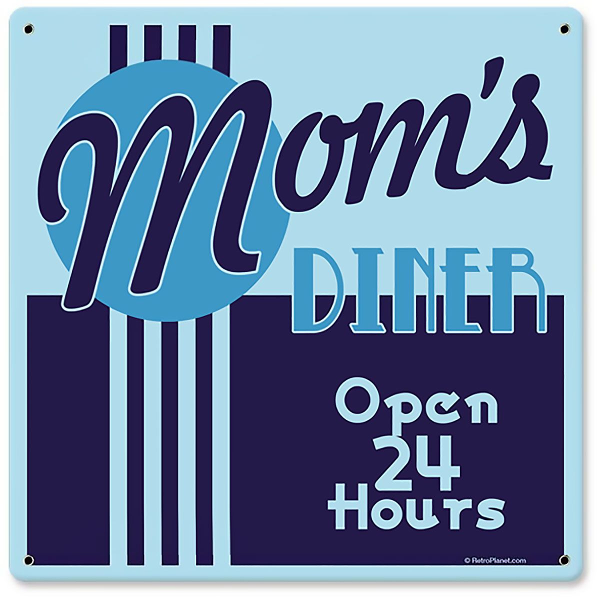 Moms diner open 24 hours blue stripe metal sign d