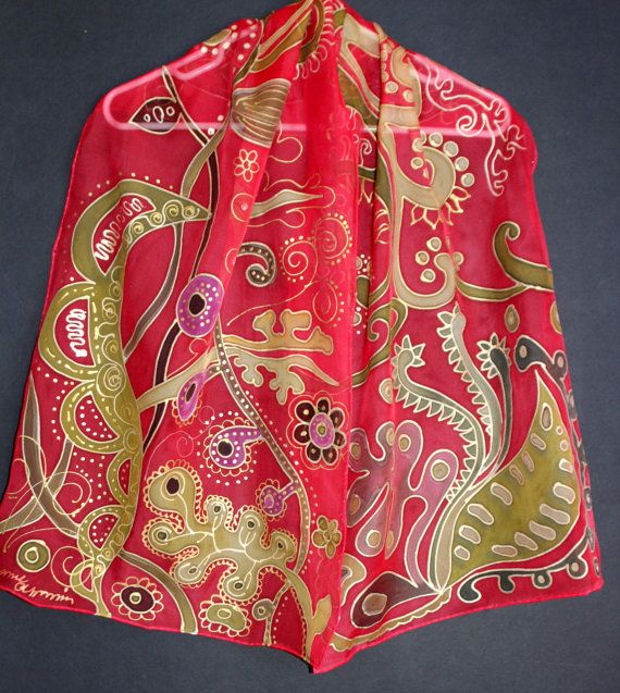 Hand painted silk scarfLong red chiffon scarfGold Khaki Red