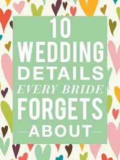 The Wedding Details Every Bride Forgets About