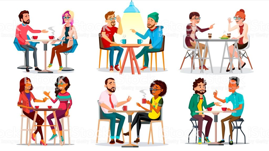 Friends In Cafe Vector Man Woman Boyfriend Girlfriend Sitting Ilustracion De Amigos Ilustracion De Dibujos Animados Hombres