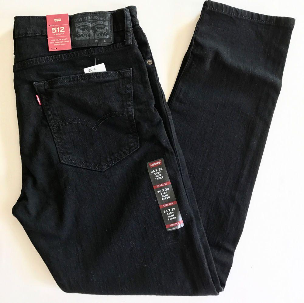 66b9b767376 Levis 512 Slim Taper Black Stretch 2 Way Comfort Stretch 36 32 #Denim  #Jeans #Levis #Stretch