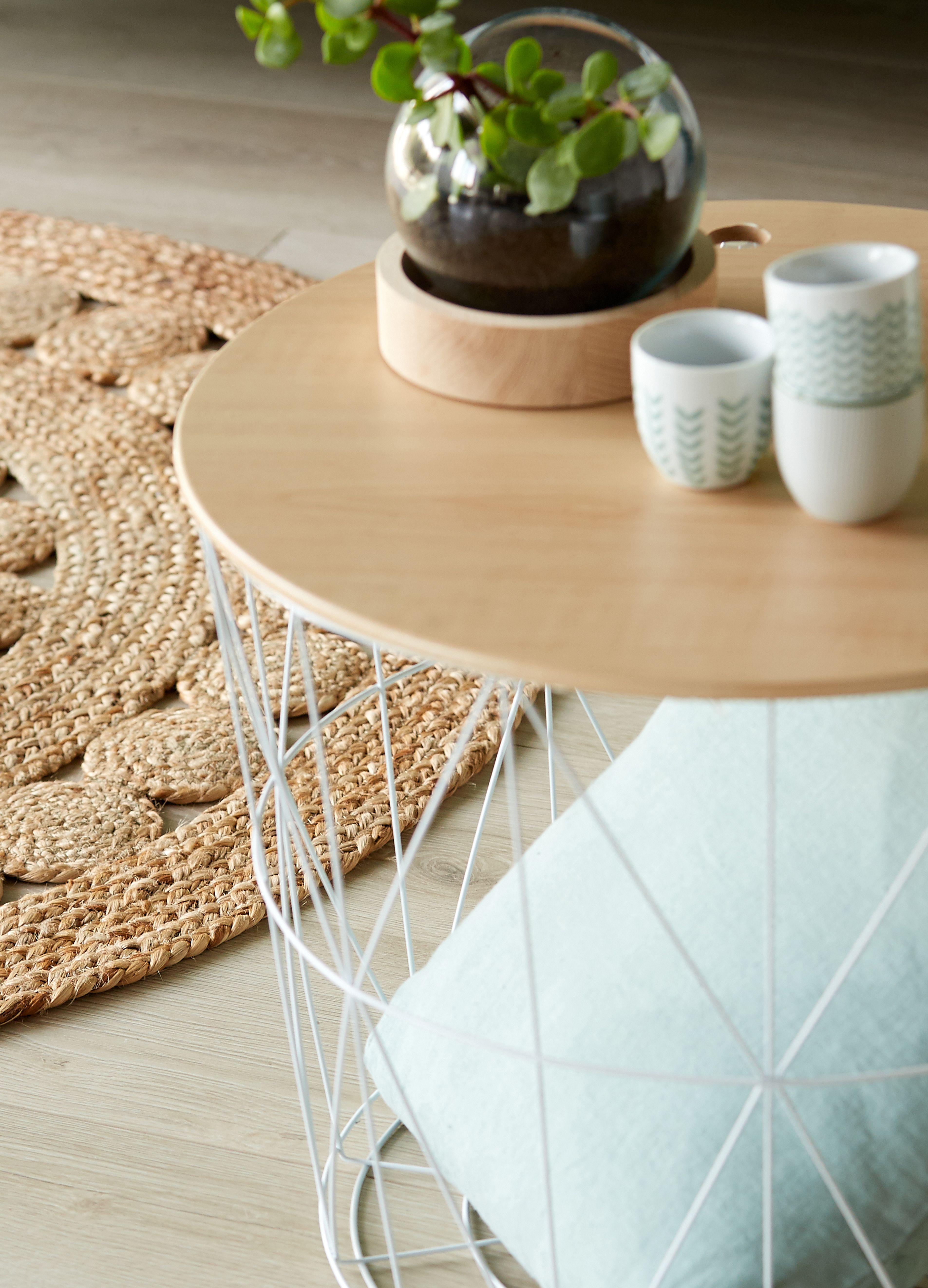 rosace tapis rond ajoure en jute decoration deco maison alinea tapis rond tapis salon stickers pour meuble