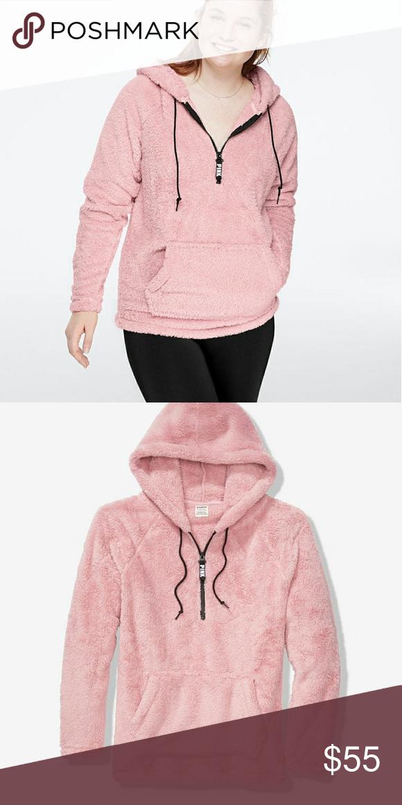 Faux Fur Zip Hoodie PINK Victoria's Secret   Pink
