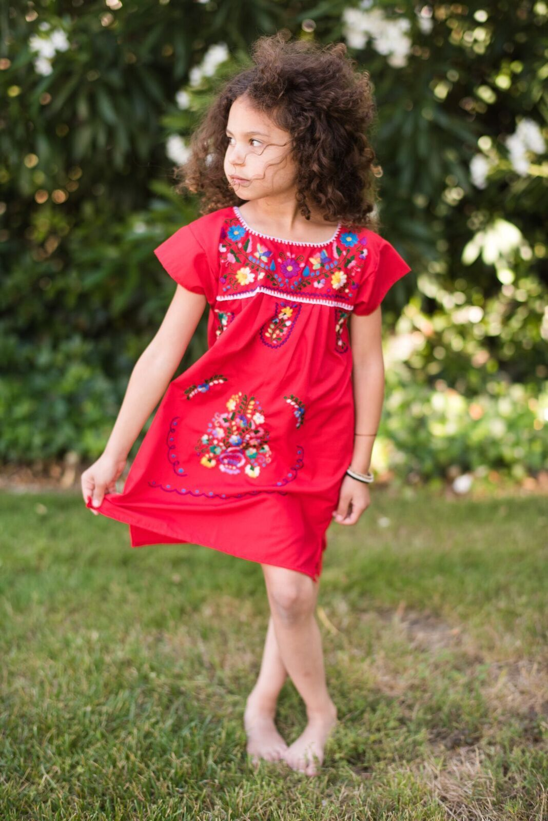 9ca22b59468 Traditional Mexican Little Girls Dress handmade in Tehuacan Puebla. These  dresses are made in soft cotton and carefully stitched and embroidered in  colorful ...