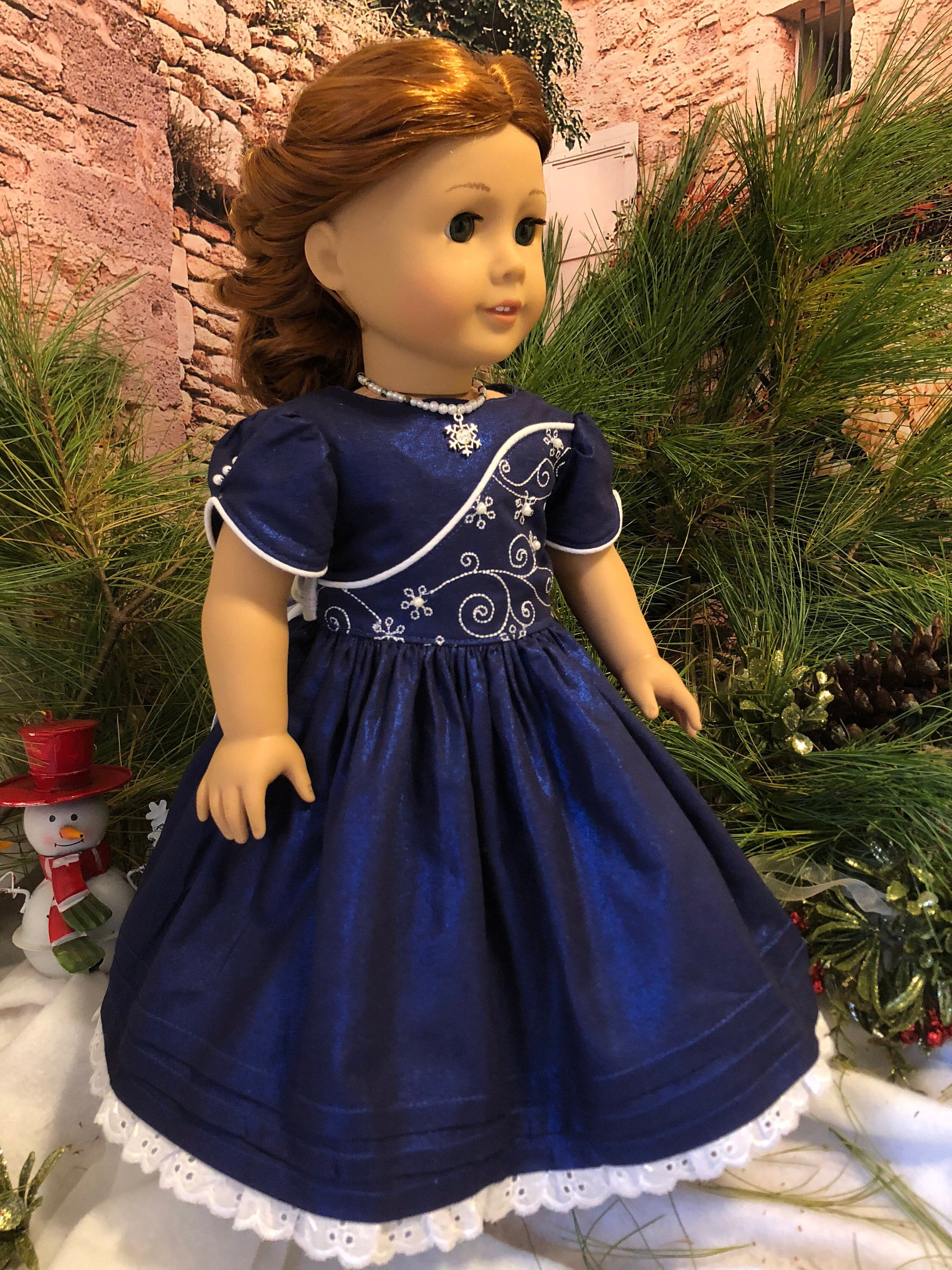 Saphire Blue Christmas party dress / fits American Girl type dolls -   25 diy dress party