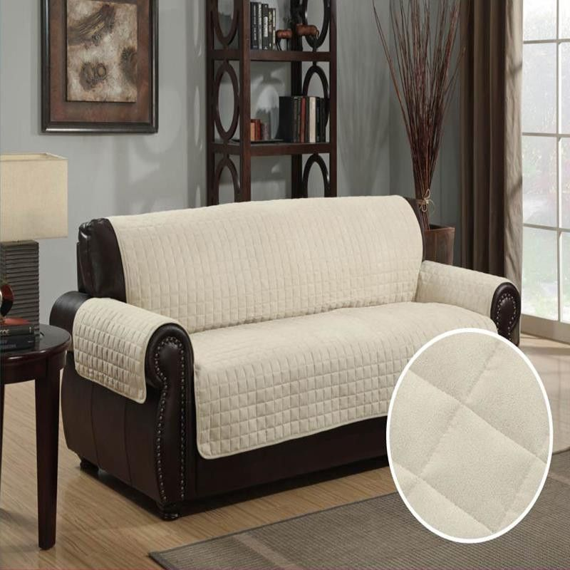 Quilted Microsuede Sofa Cover Slipcover Furniture Protector Pet 110 X 76 Beige