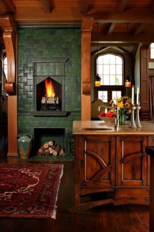 Andie MacDowellu0027s Storybook Tudor. Kitchens With FireplacesRustic ...
