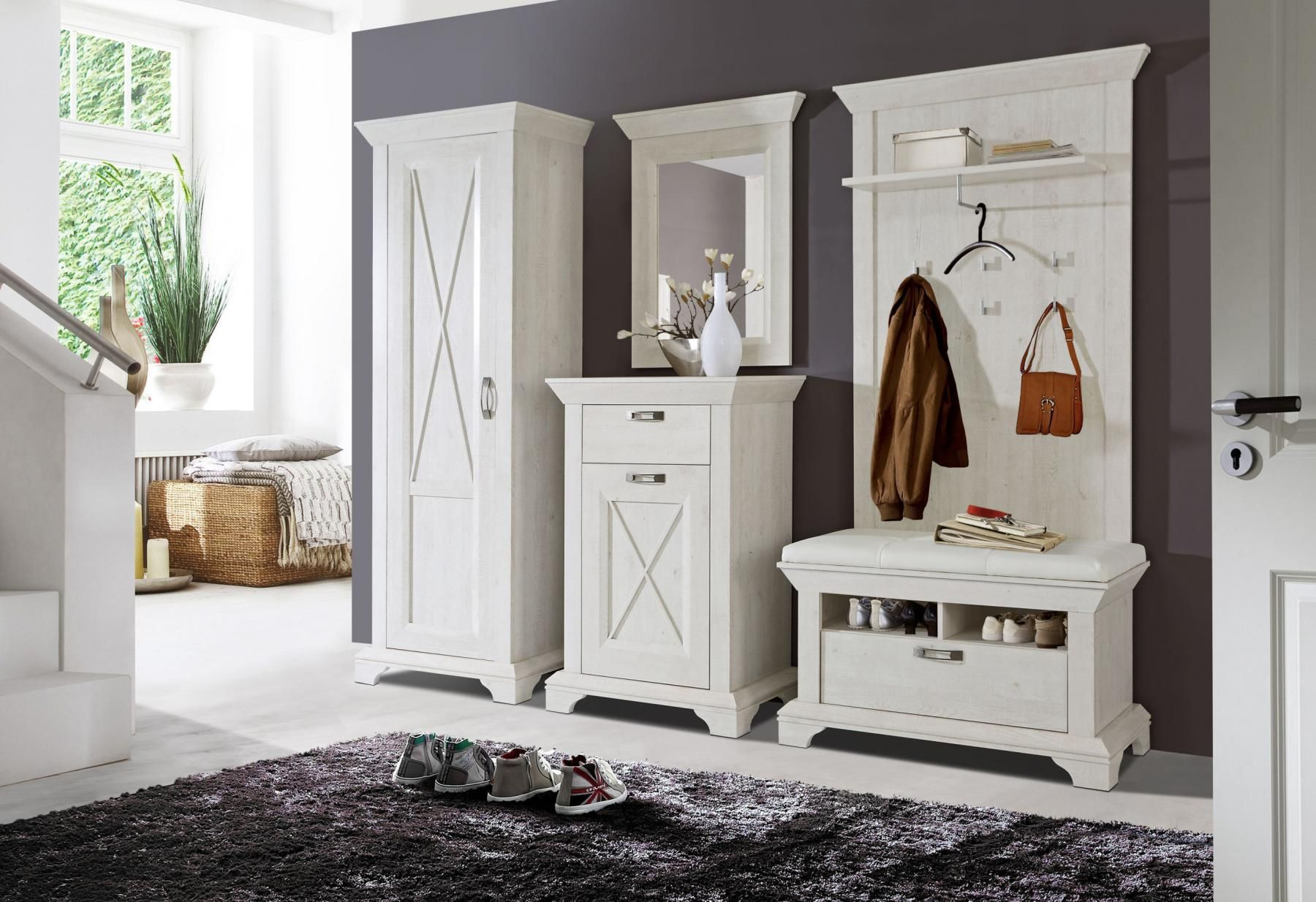 13 Hervorragend Landhaus Garderobe Weiss Garderoben Set Garderobenset Haus Innenarchitektur