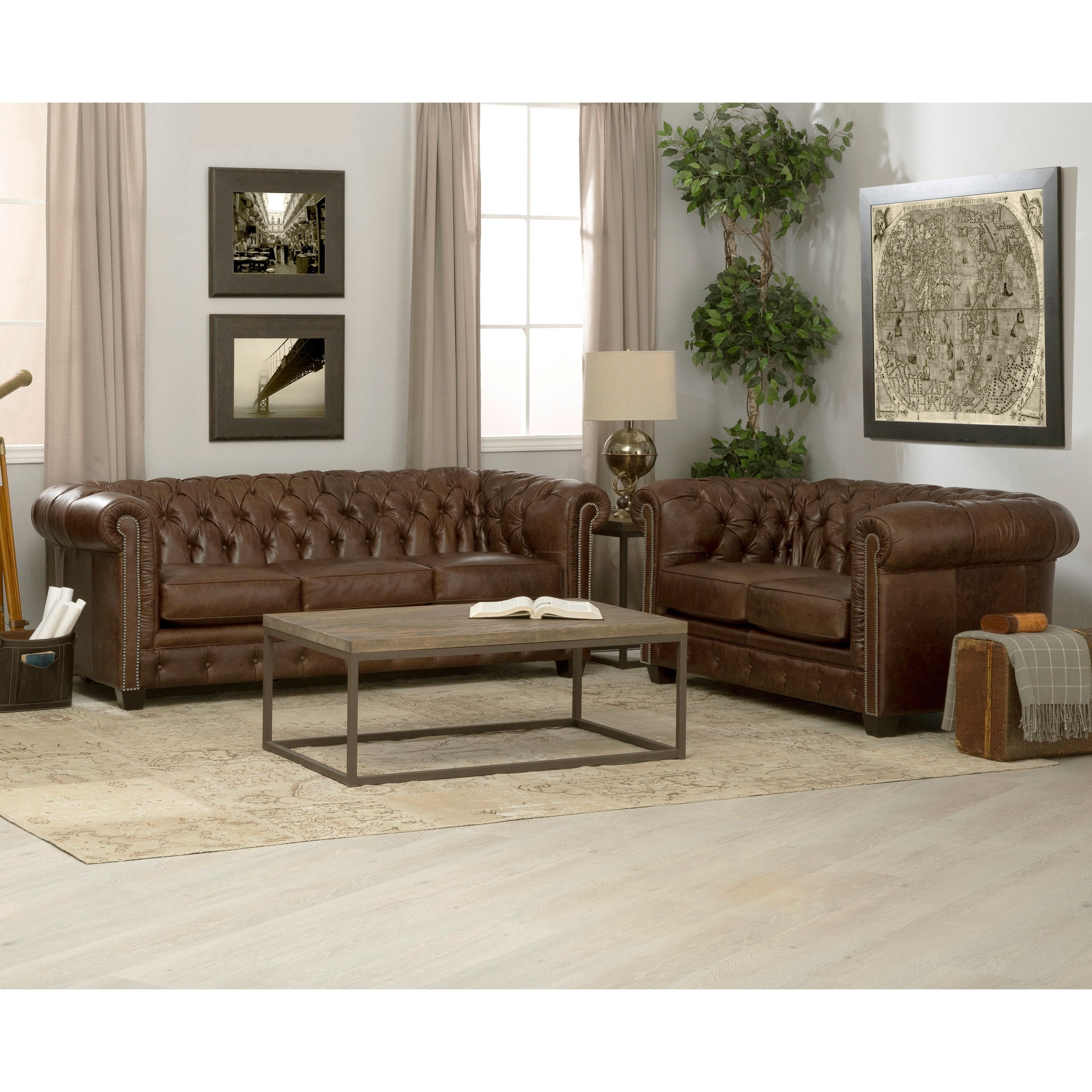 Hancock Tufted Distressed Italian Chesterfield Leather Sofa and