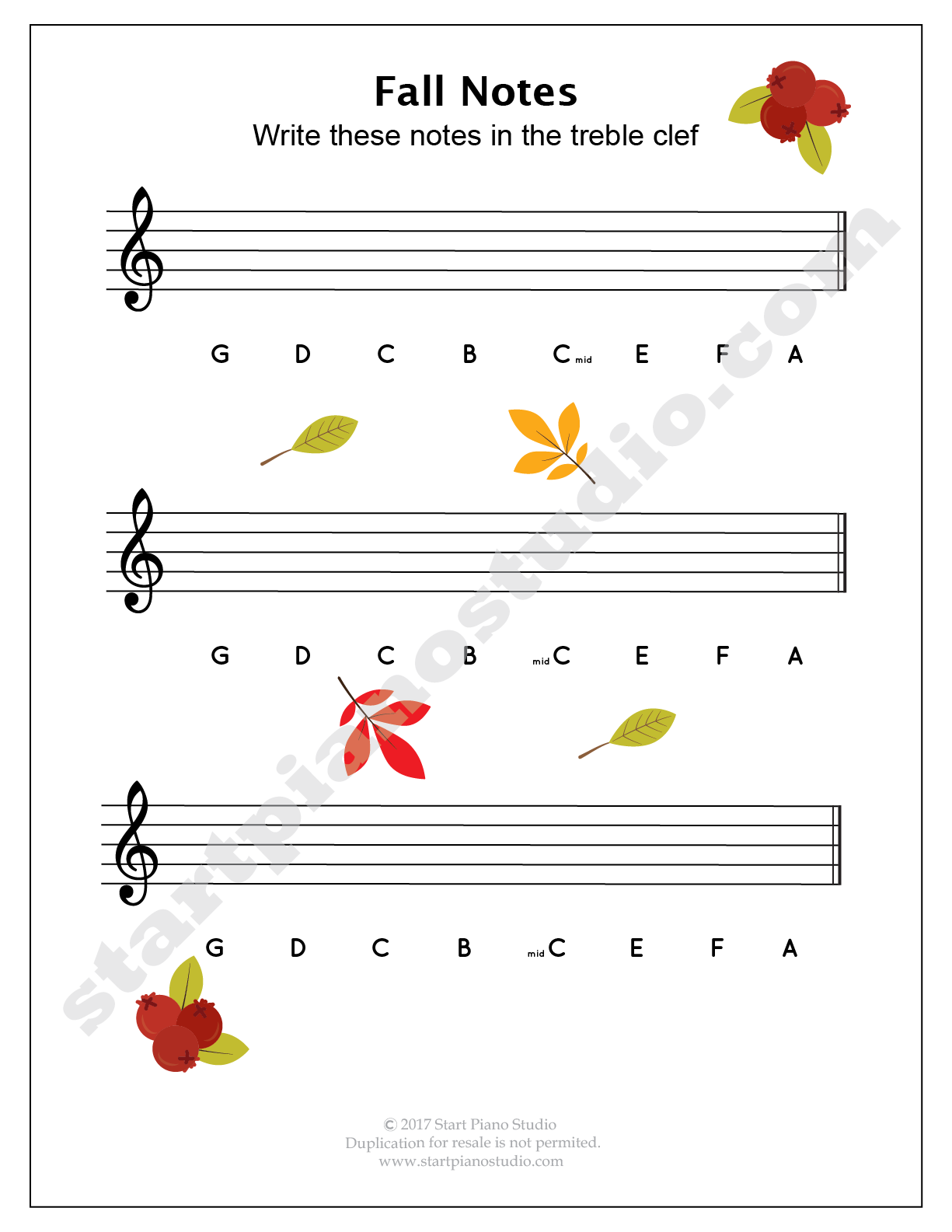 Worksheets Piano Theory Worksheets fall theory printables start piano studio lessons pinterest studio