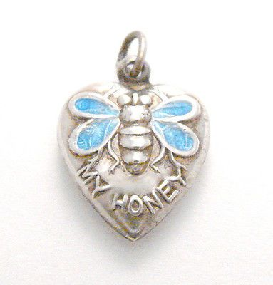 BEE~Vintage Sterling Silver Enamel Bee My Honey Puffy Heart Charm.