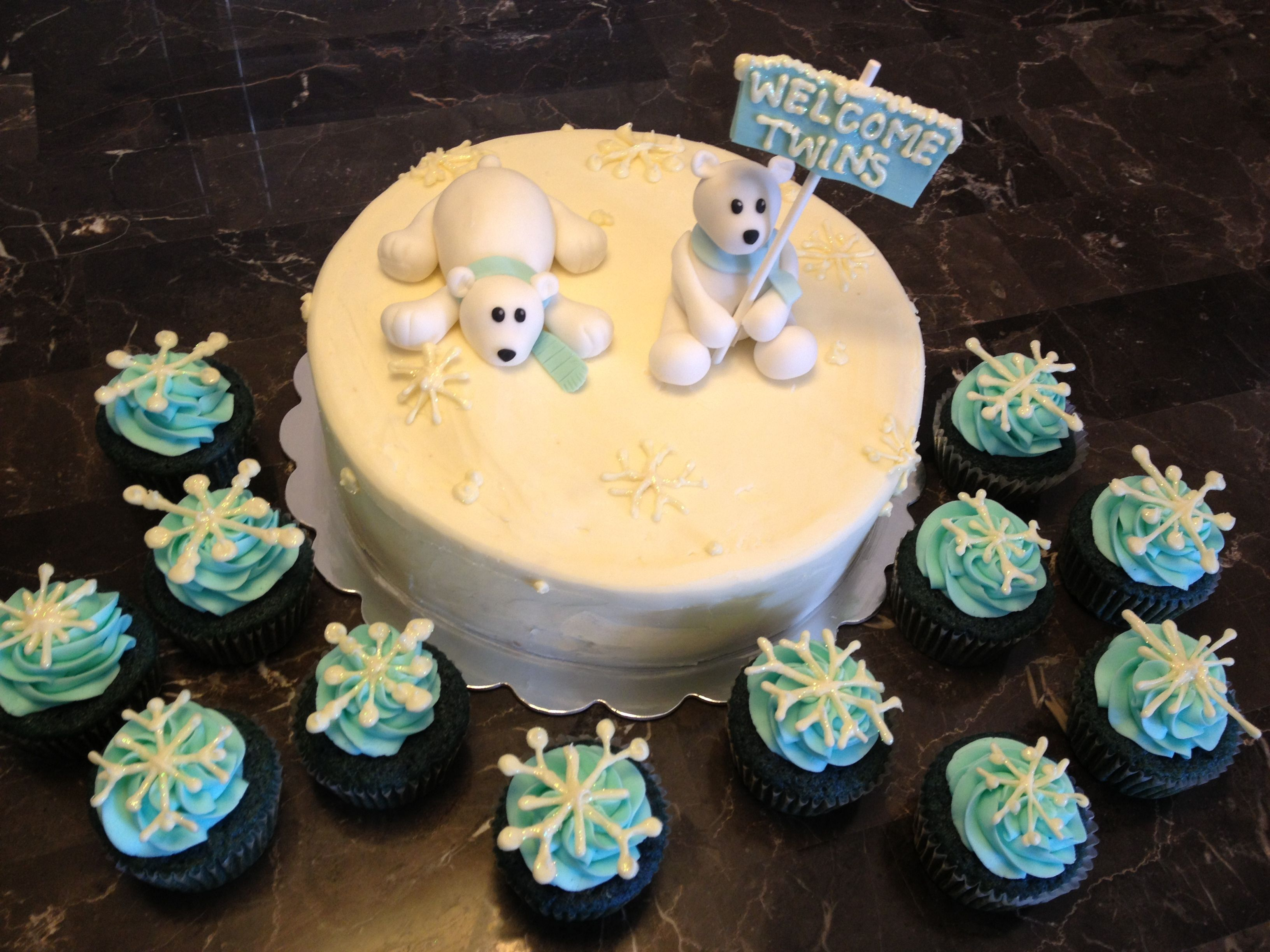 Polar Bear Cake Baby Shower Twins Bittersweet Cake Boutique