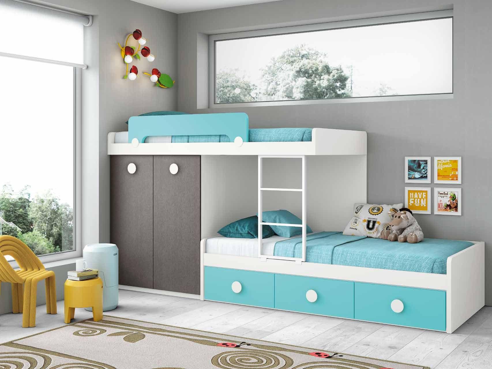 Cama Tren Combinada En Gris Blanco Y Azul Cama Infantil  # Muebles Laqueados Infantiles