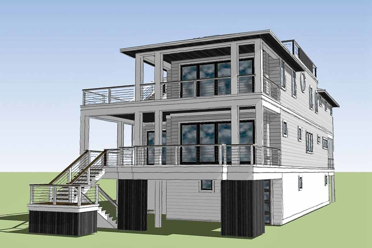 Plan 15220nc Coastal Contemporary House Plan With Rooftop Deck Coastal House Plans Contemporary House Plans Beach House Plans