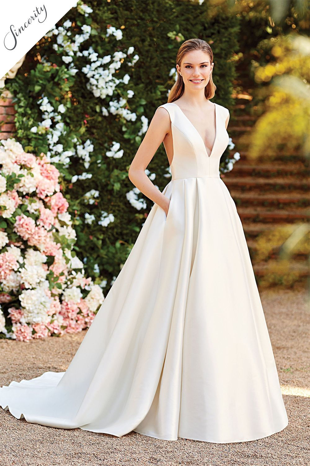Style 20 Clean Ball Gown with Deep V Neck and V Back ...