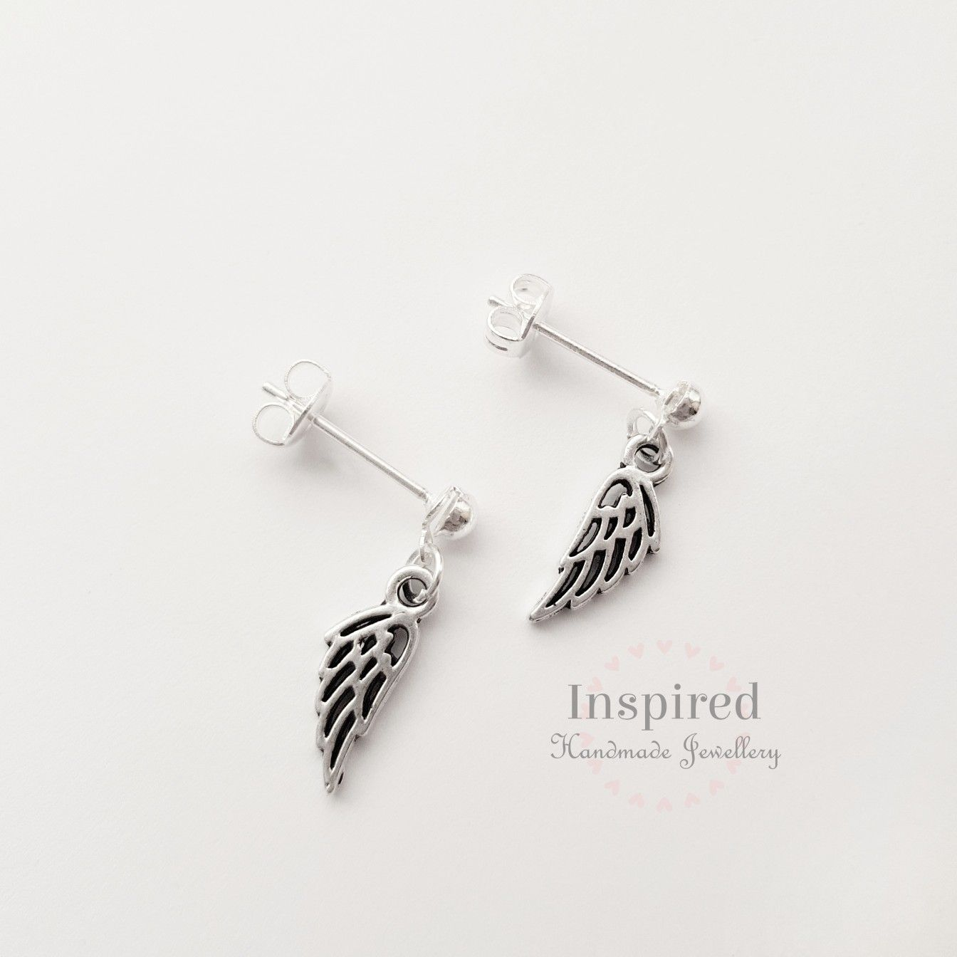 316L Surgical Steel Silver Plated Tragus//Cartilage Stud with Angel Wing Dangle