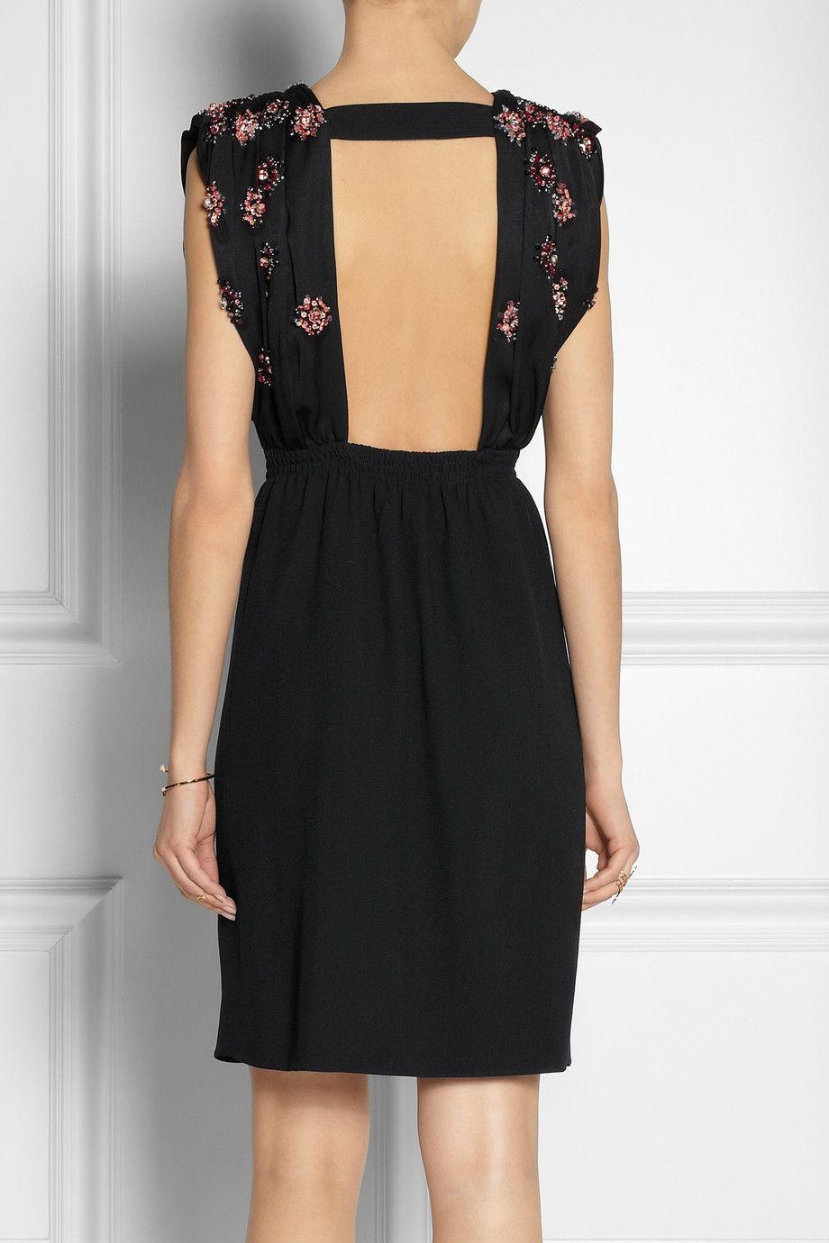 Miu Miu - Embellished open-back crepe dress