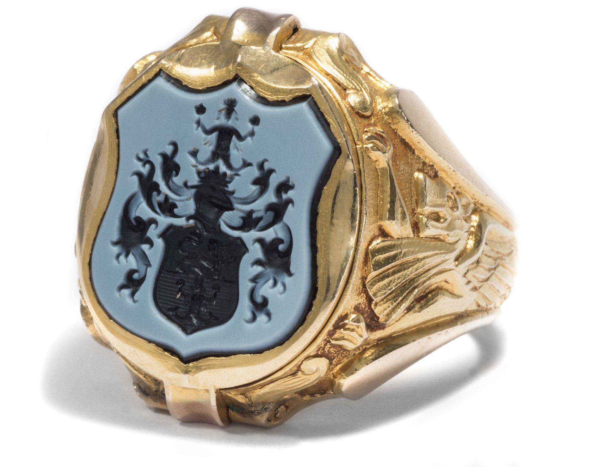 Um 1910 Wappen Ring 585 Gold & Lagenstein Giftring Herrenring