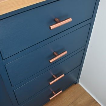 copper pull t shaped with ridging detail cabinet hardware