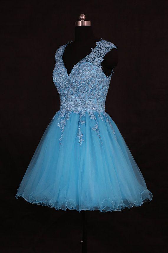 Tiffany Blue V Neck Homecoming Dress/Short Beading ...