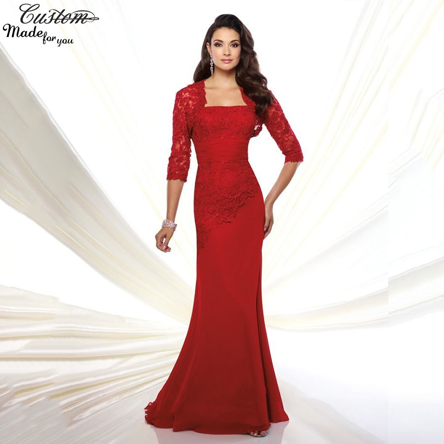 Gorgeous-Evening-Gowns-Plus-Size-Chiffon-Pant-Suits-Red-Mother-of ...