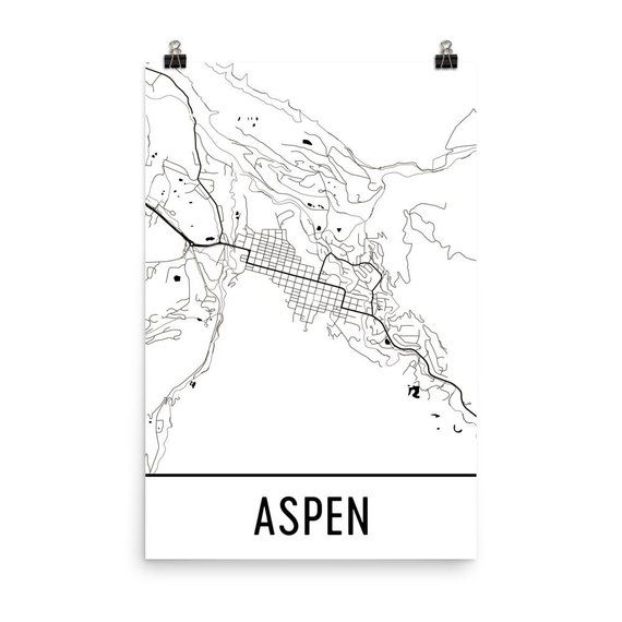 Aspen CO Map Aspen Art Aspen Print Aspen CO Poster Aspen