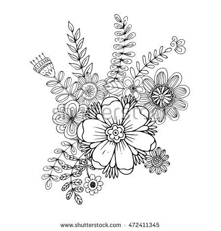Flower Doodle Drawing Freehand Vector Coloring Page With Doodle