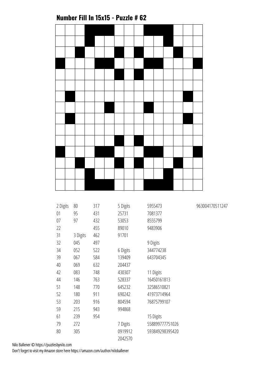 Free Downloadable Puzzle Number Fill In 15x15 # 62