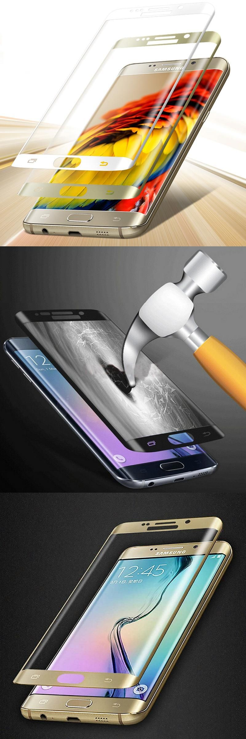 Full Coverage 2 5D 9H Screen Protector Tempered Glass For Galaxy S6 S6 Edge S7 S7 edge S6 Edge Plus Cover Case Protective