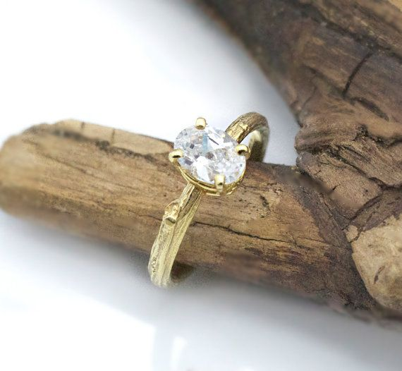 Yellow Gold. White Sapphire. Ring. Twig engagement ring / Oval  white sapphire/ 14k by efratdeutsch, $972.97