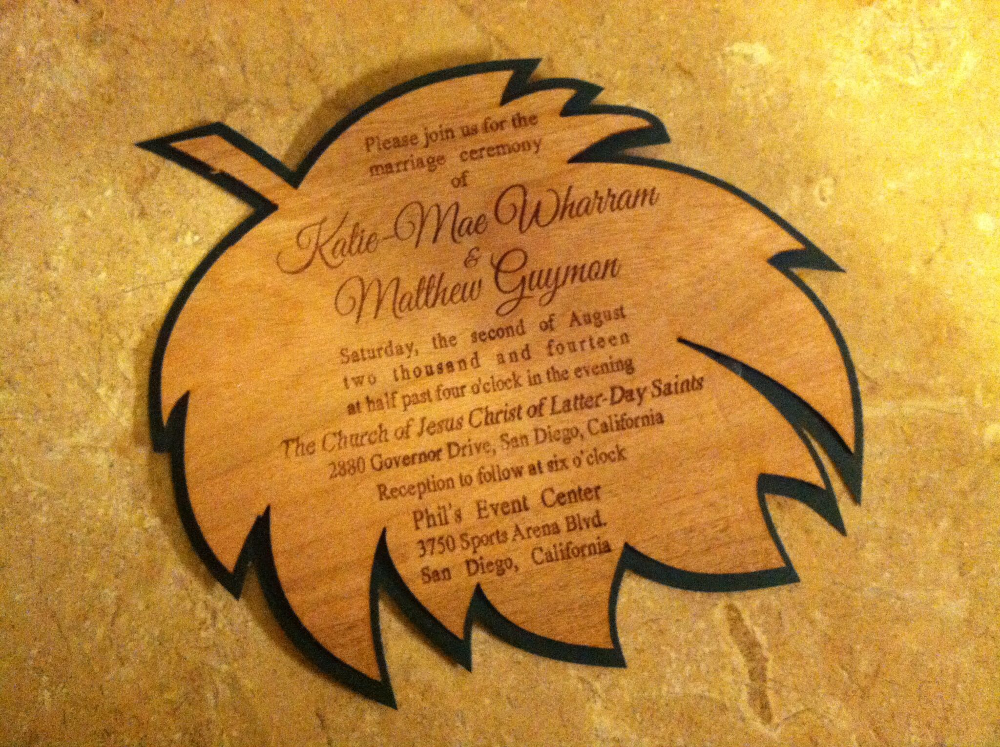 Laser Engraved and Laser Cut Wedding Invitation made from veneer