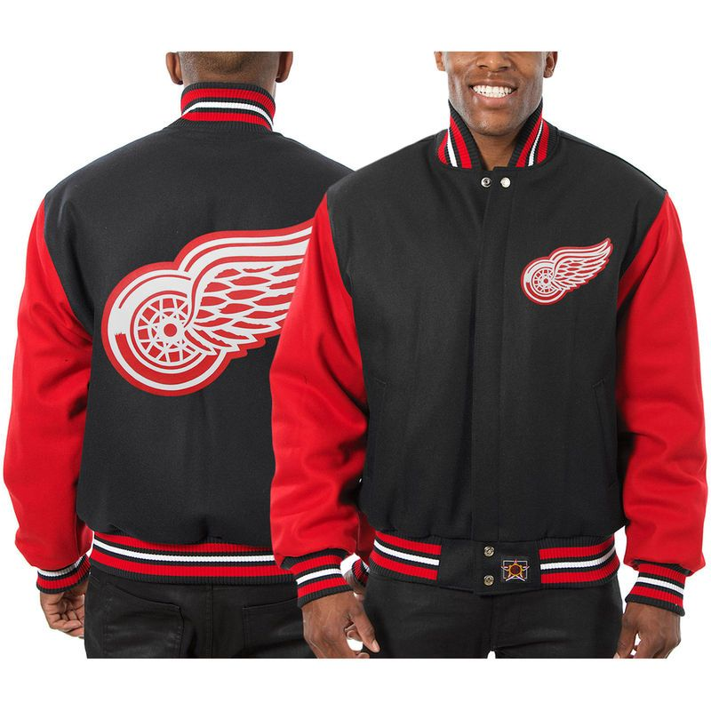 0a72c6a2 Detroit Red Wings JH Design Two-Tone All Wool Jacket - Black/Red ...