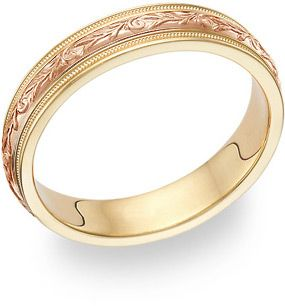 Paisley Wedding Band Ring 14K Yellow and Rose Gold A