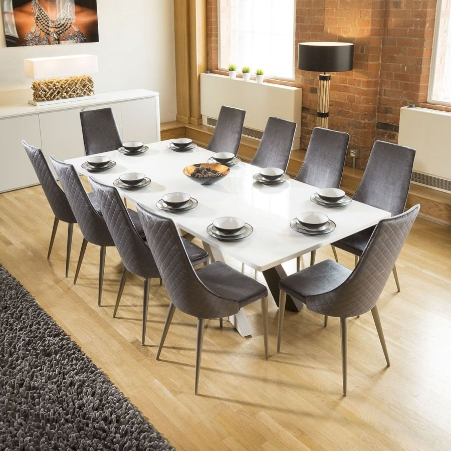 Quatropi White Dining Boardroom Table 2 4x1 1m 10 Grey Velvet Chairs White Dining Table Modern Dining Table Dining Furniture Sets