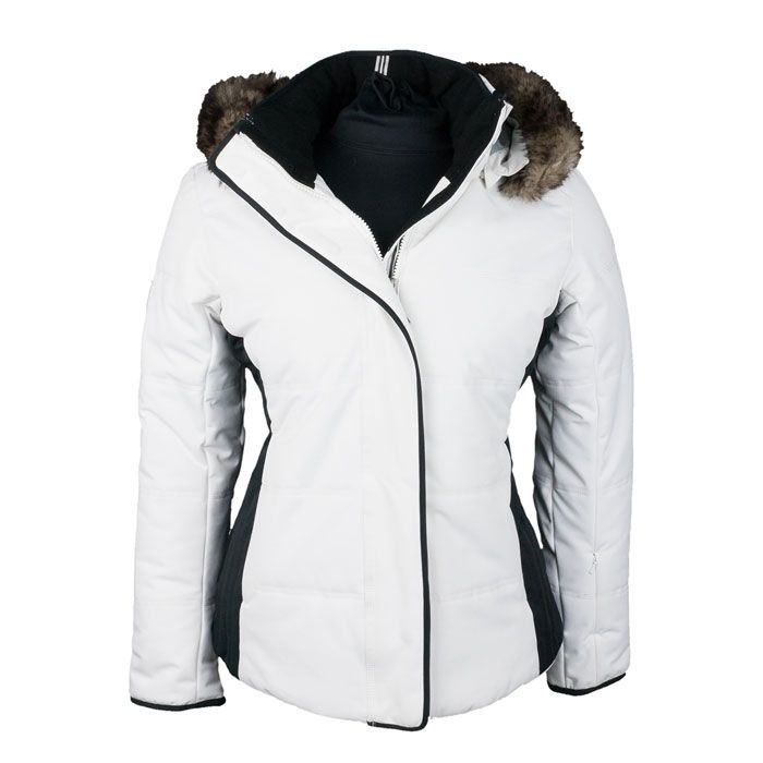 Obermeyer Women s Tuscany Petite Ski Jacket white with black accents and  fur collar. 338bc2b14