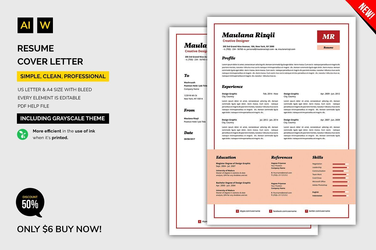 Resume / Cover Letter , AFF, CleanSimpleProduct