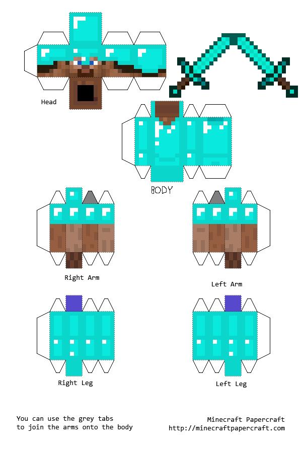 Papercraft Steve With Diamond Armor And Diamond Sword