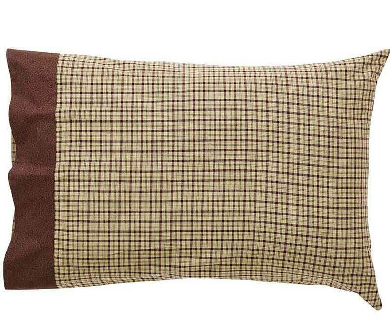 VHC Primitive Pillow Case Set of 2 Pillowcases Standard or King Red Cotton Plaid