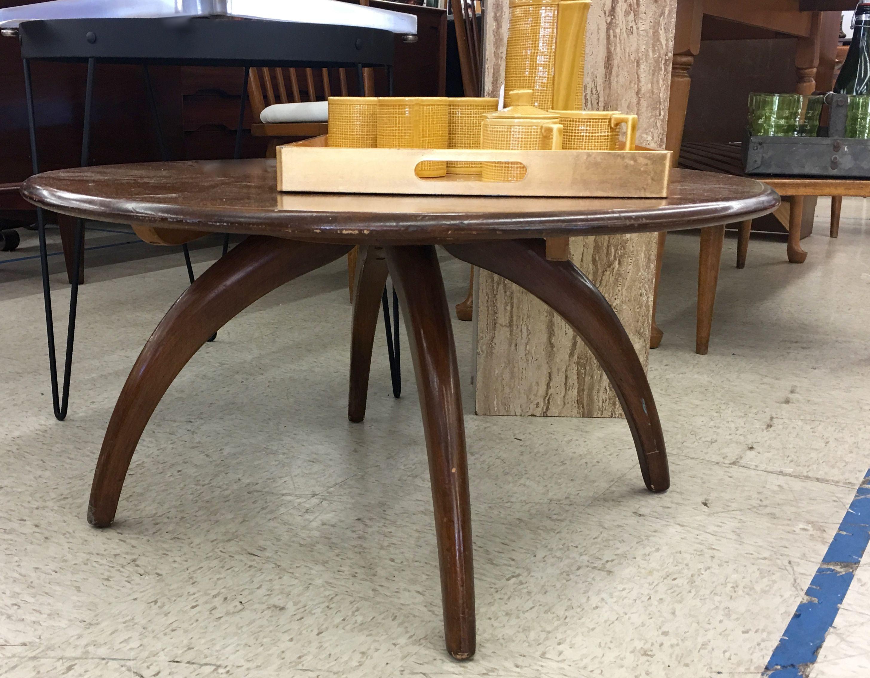 Heywood wakefield lazy susan coffee table 32 diameter x