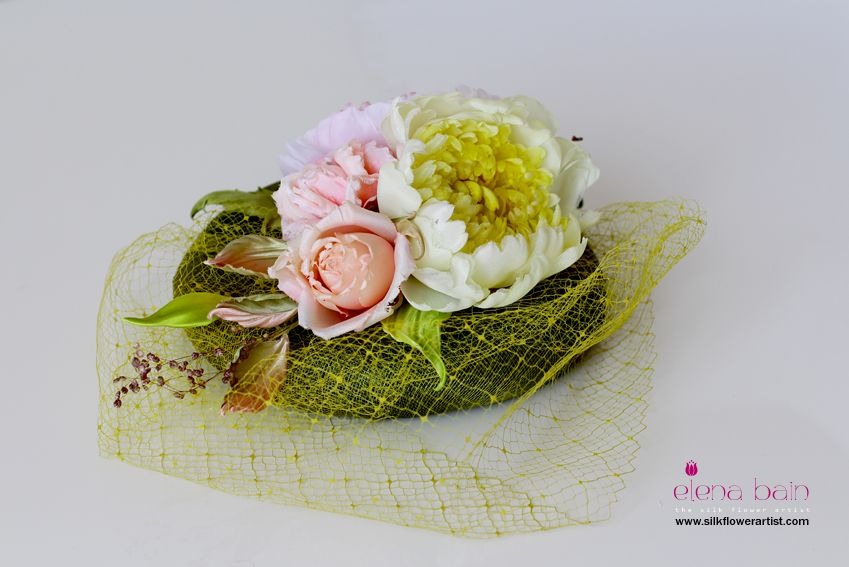 Custom order hat adorned with couture silk flowers learn silk flower custom order hat adorned with couture silk flowers learn silk flower art with step by mightylinksfo