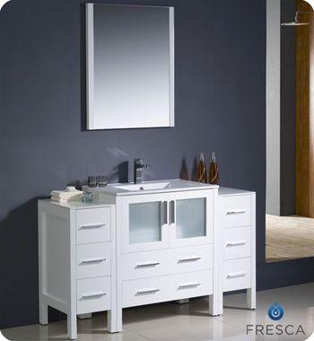Fresca Torino 54 White Modern Bathroom Vanity W 2 Side Cabinets