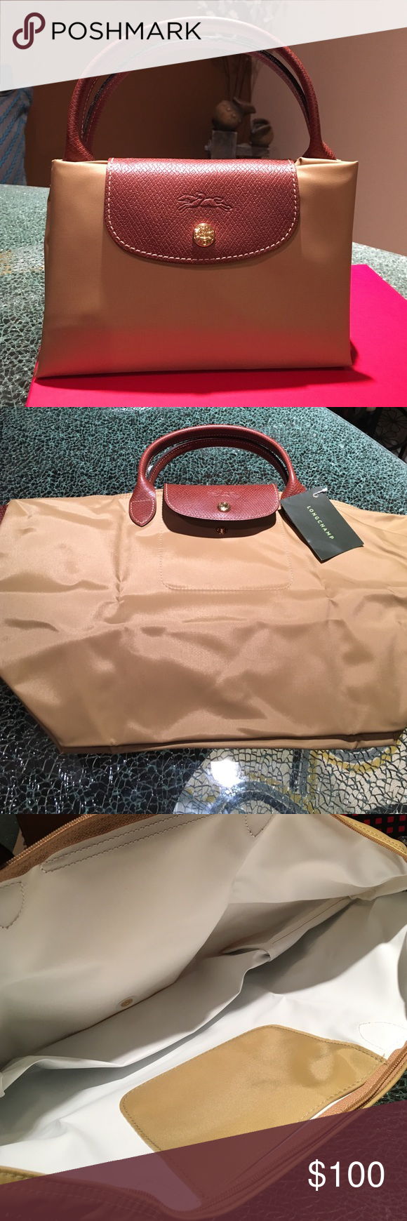 "NWT Longchamp Le Pliage Medium - Short Handle 100% Authentic. New with tags attached.Will come with Longchamp paper bag.  Color is Cumin. Hardware i is gunmetal, inside color: white.     11 ¾""W x 11""H x 8""D. (Interior capacity: large.) 4"" strap drop. Longchamp Bags Totes"