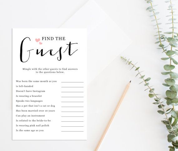 Printable Bridal Shower Game Printable Find The By