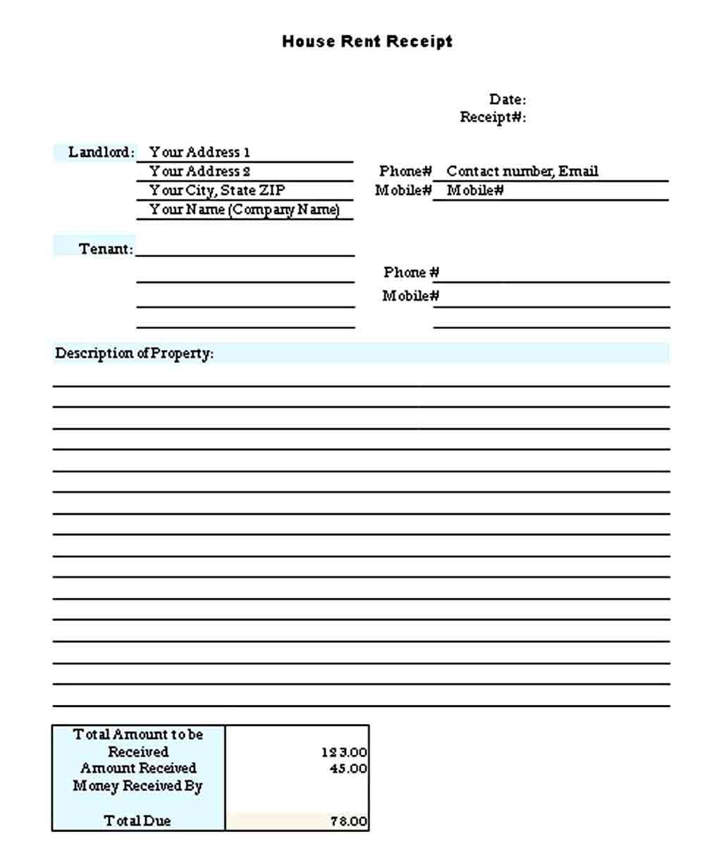Printable Rent Receipt Templates Receipt Template Business Template Templates
