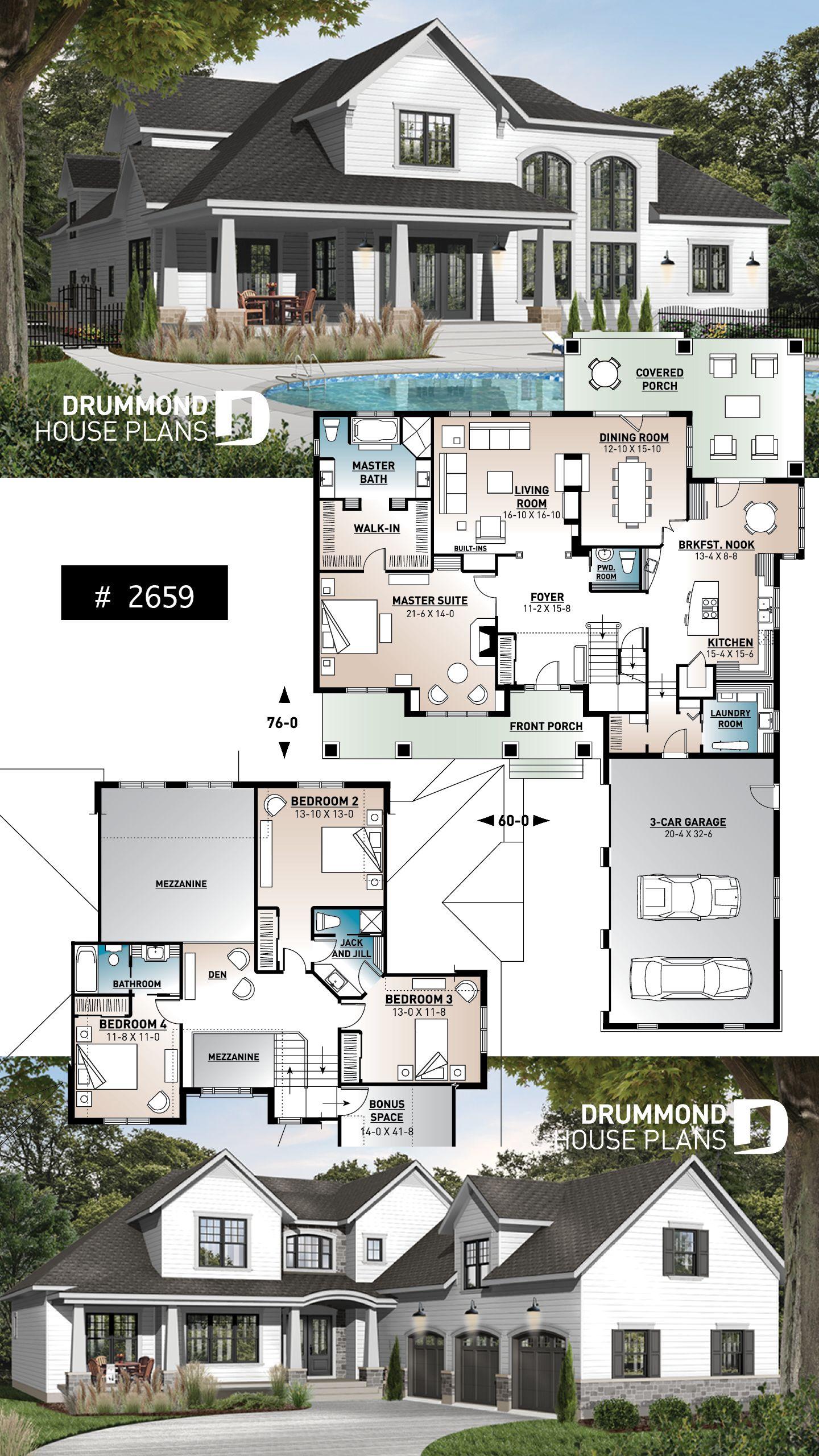 5 Bedroom 4 Bath Farmhouse Plans