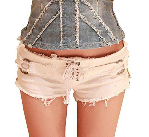 4adbba9ad89da9 Bestfort Damen Jeans-Shorts Sommer Hot Pants Bottom Nachtclub Damen fest  Niedrigtaille Kurzschlüsse Gezeiten Paket