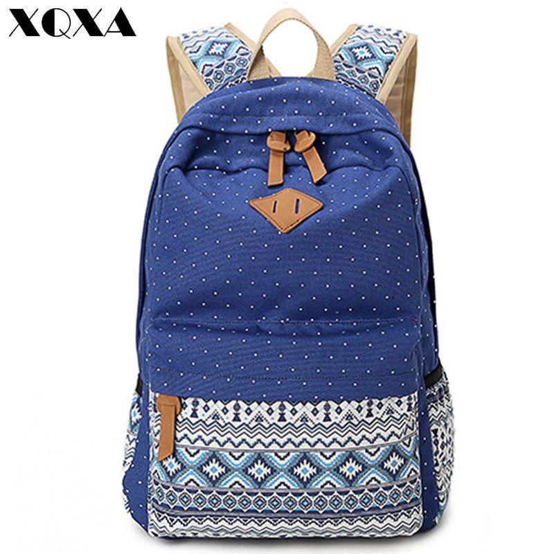XQXA Vintage Girl School Bags For Teenagers Cute Dot Printing Canvas Women  Backpack Mochila Feminina Casual Bag School Backpack ac937bbcdd