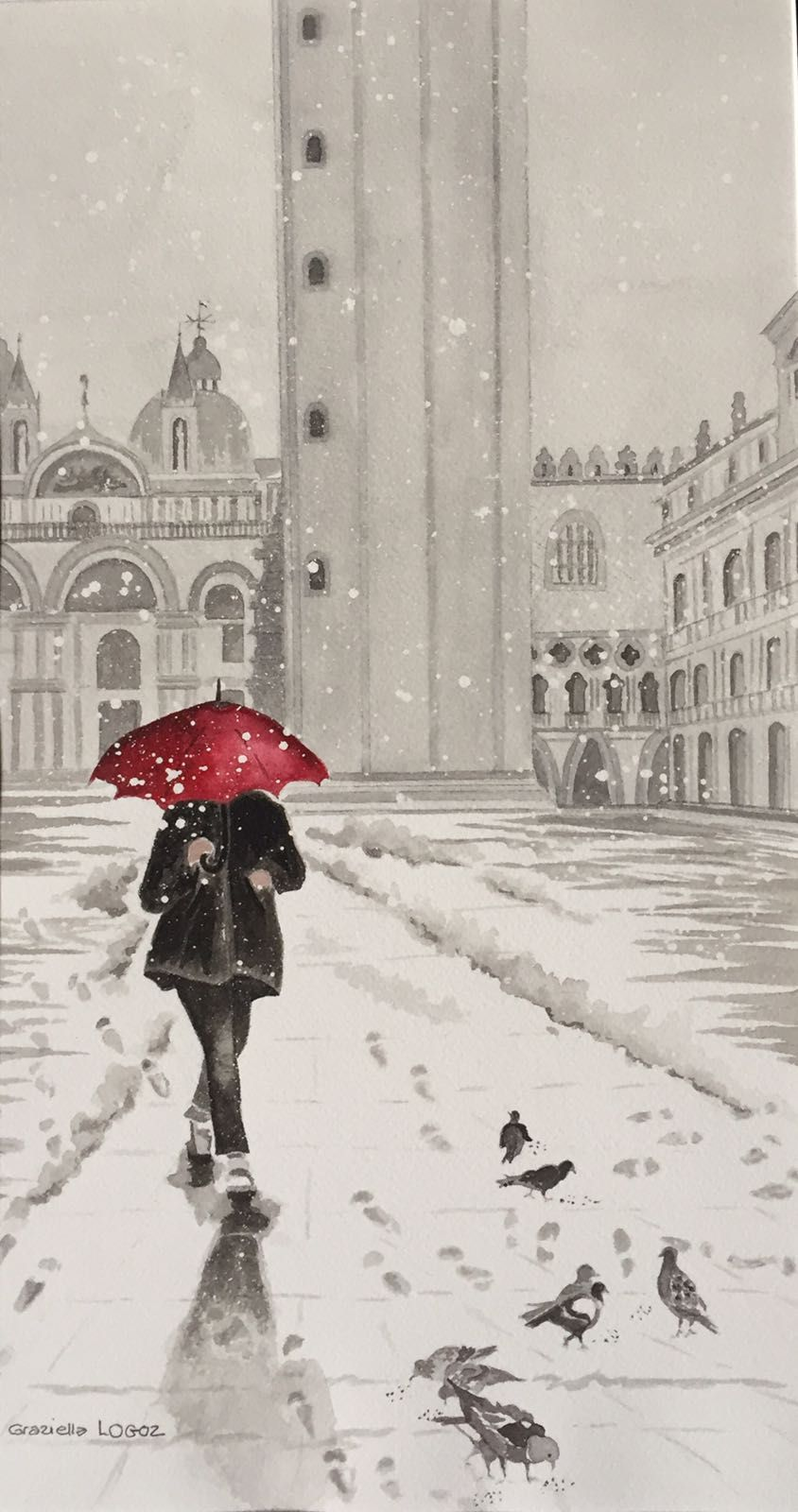Aquarelle Le Parapluie Rouge Venise Collection Privee