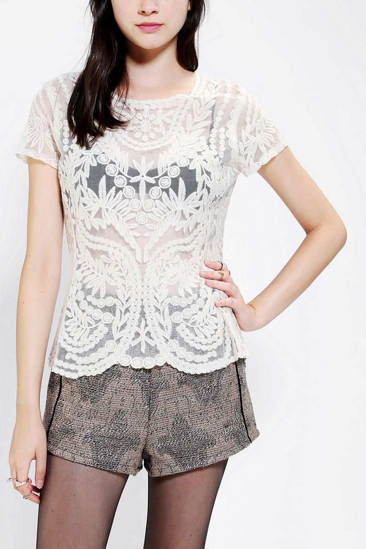Pins And Needles Embroidered Lace Tee